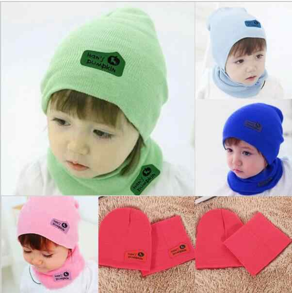 4ca18932e5d ... 6 Color Casual Baby Hat and Scarf Crochet Child Hat Warm Letter Knitted Kids  Hats Solid ...