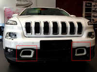 For Jeep Cherokee 2014 2016 Front Bottom Bumper Grill Grille Cover Frame Trim 2pcs