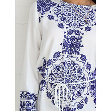 Summer Blue And White Porcelain Pattern Straight Dress Long Sleeve