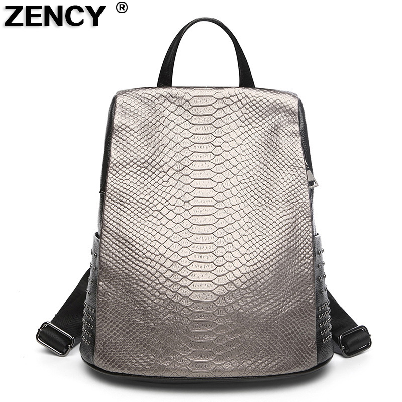 ZENCY 100% Original Genuine Leather Designer Crocodile Pattern Women Ladies Daily Backpacks Female Fashion Cowhide Bags Knapsack