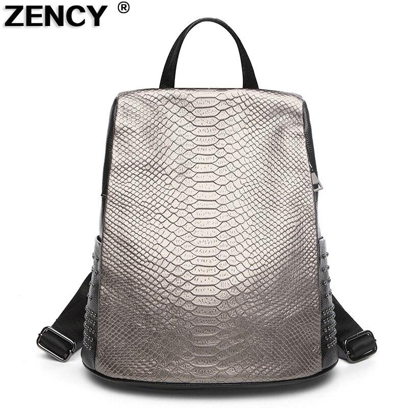 ZENCY 100% Original en cuir véritable Designer motif Crocodile femmes dames sacs à dos quotidiens femme mode peau de vache sacs à dos