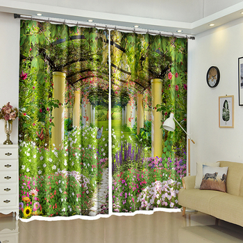 New 3D Blackout Window Curtains Green Plant Corridor Scenic Pattern Thicken Washable Polyester Bedroom Curtains for Living Room