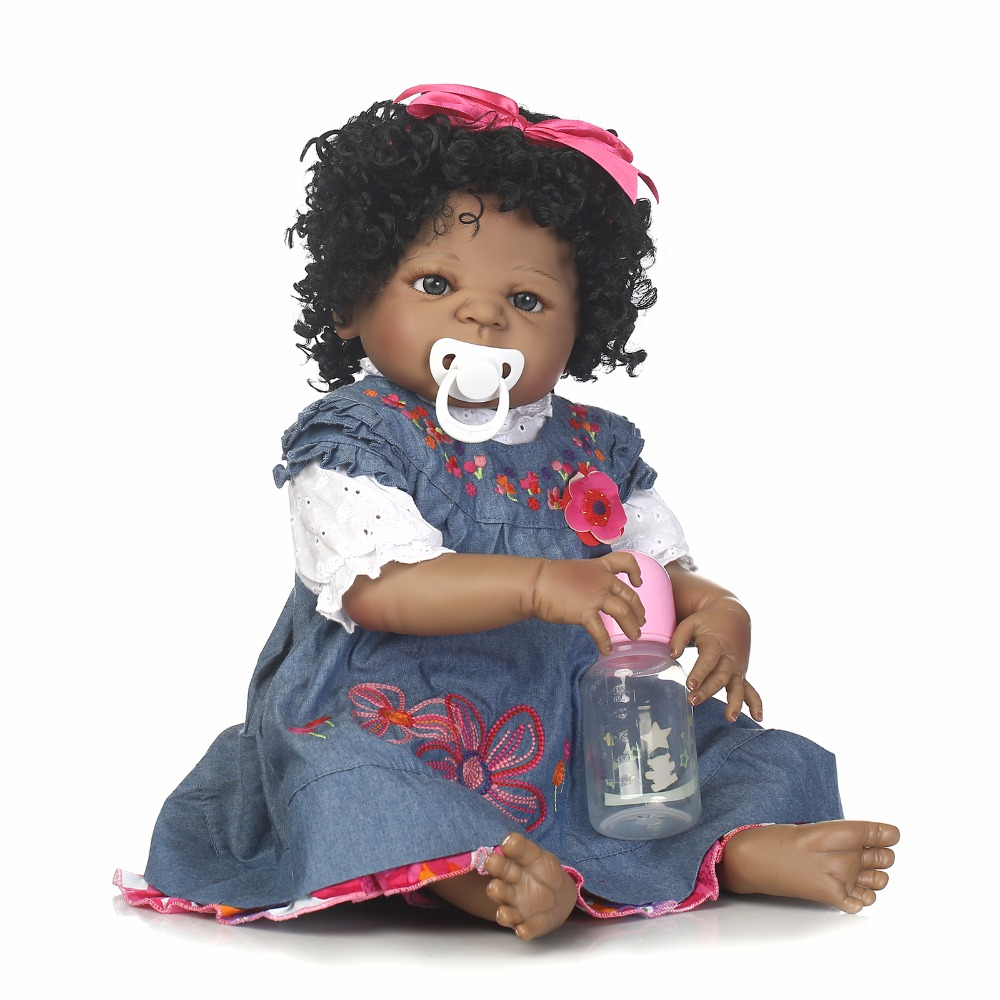 55cm Full Body Silicone Reborn Black Skin Girl Baby Doll Toy Realistic Newborn Princess Babies Doll Girl Brinquedos Bathe Toy