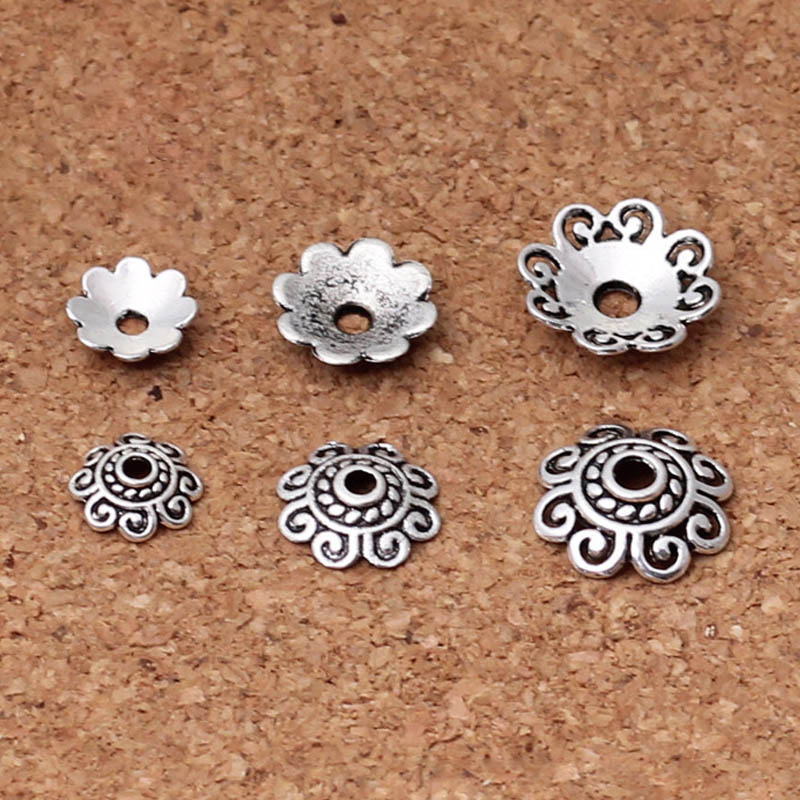 wholesale 100pcs Tibetan Silver flower charm bead cap 8mm
