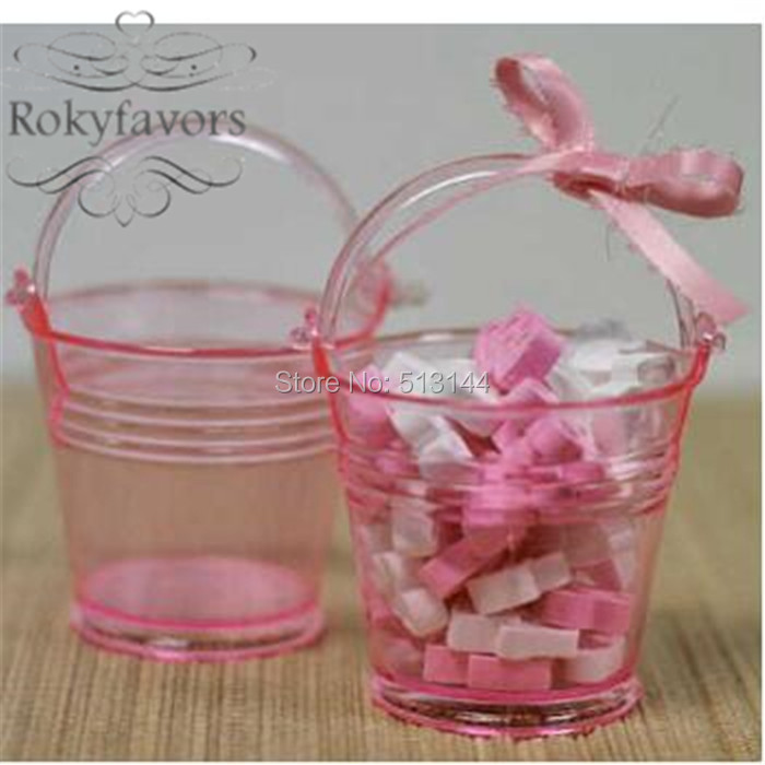 FREE SHIPPING 24PCS Clear Pink Mini Bucket Baby Shower Candy Holder Favors Sweet Pails Kid's  Party  Ideas Birthday Party Gifts