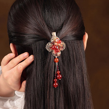China Red Ethnic Barrettes Hair Clip Handicrafts Vintage Tassel Hairpin Headwear Ancient Costume Accessories Hair Ornaments цена и фото