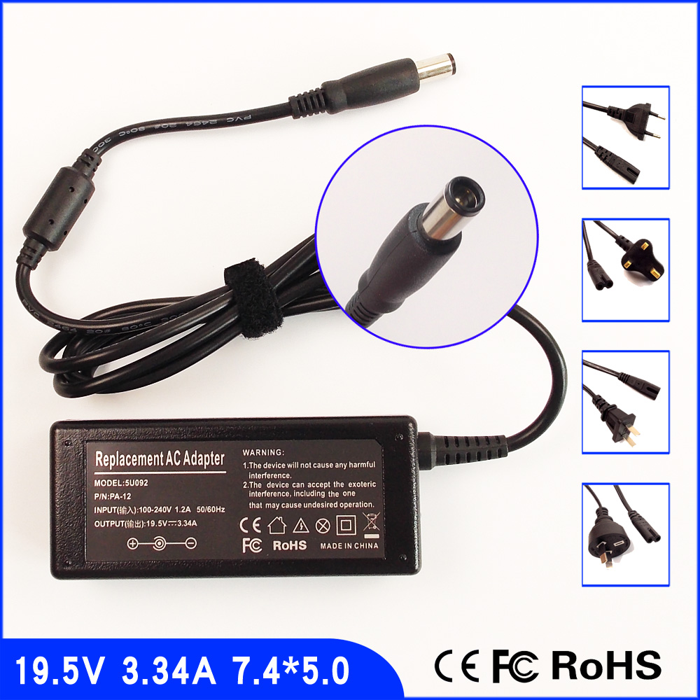 19.5V 3.34A Laptop Ac Adapter Power SUPPLY + Cord for <font><b>Dell</b></font> Studio <font><b>1435</b></font> 1440 1450 1457 1535 1536 1537 1555 1557 1458 1558 image