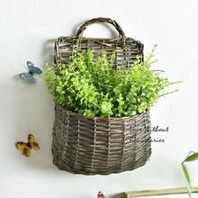 Handmade willow flower baskets with Fake flowers wall Decorative Home Garden Pendant Retro Decorative flower