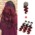 Queen Hair Brazilian Body Wave Ombre Human Hair with Closure 4 Bundles 1B Burgundy Brazilian Hair Weave Bundles with Closure