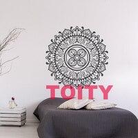 Çıkarılabilir grafik çiçek yoga mandala sanat vinil duvar çıkartması dekor house yatak odası kendinden yapışkanlı pvc duvar sticker 57x57 cm 40 renkler