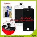 Ningún Punto de píxeles Muertos LCD Pantalla digitalizador de Pantalla Táctil + asamblea del bisel del capítulo + herramientas gratuitas de reemplazo nuevo caliente para el iphone 4 4G
