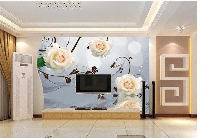 peintures murales de papier peint fleurs rose rflexion salon tv toile de fond chambre 3d photo