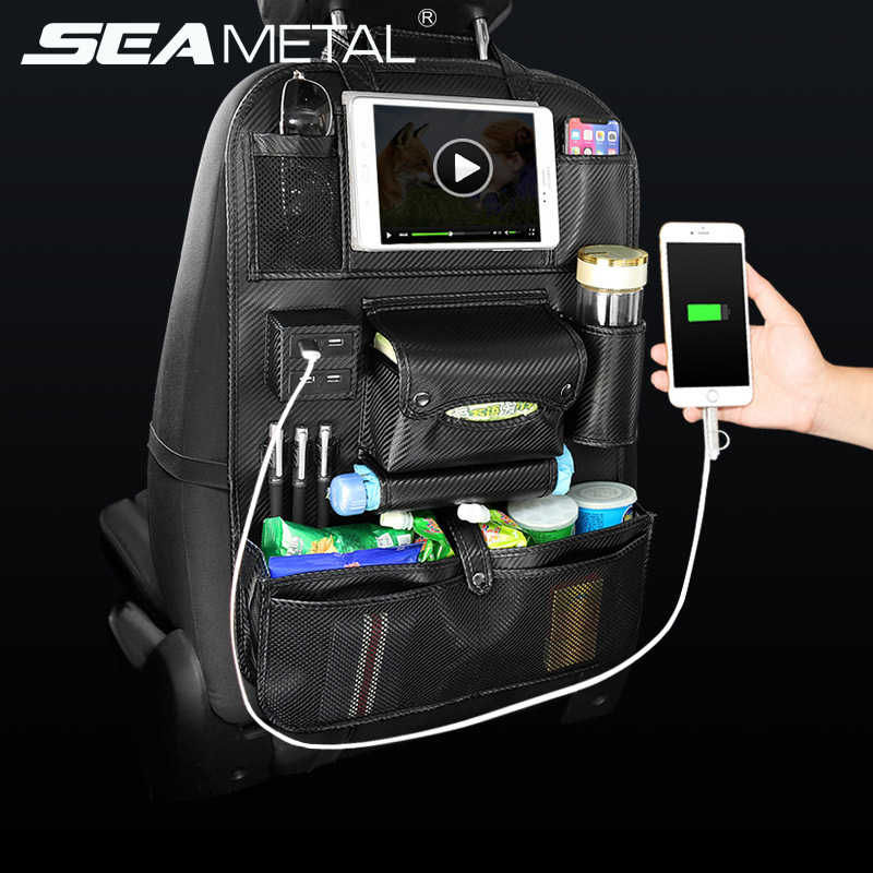SEAMETAL Car Seat Organizer Auto Organizers Backseat Storage Interior Automobiles Seat Back Bag 4 USB Leather Pocket in the Cars