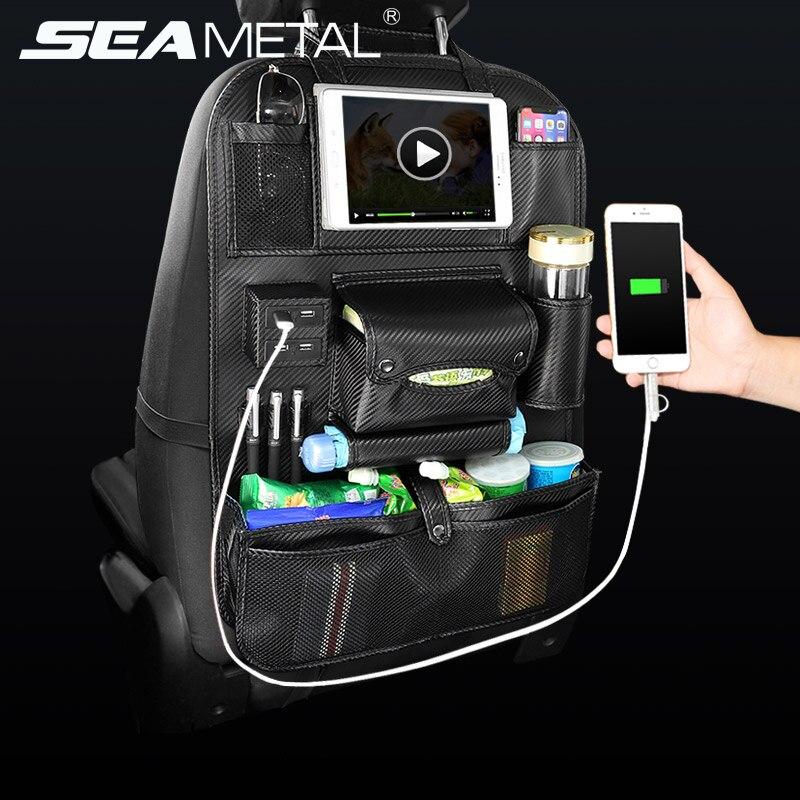 Assento de carro de Volta Saco Organizador no Carro 4 Carregador USB Multifuncional De Armazenamento de Viagem de Couro Pu Bolso Estiva Tidying Acessórios Auto