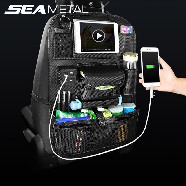 Car Seat Back Bag Organizer Car 4 USB Charger Storage Pu Leather Travel Multi-function Pocket Stowing Tidying Auto Accessories