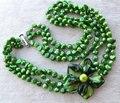 Идеальный жемчужное ожерелье, зеленый цвет барокко форма настоящее пресной воды жемчужное ожерелье, а . а . 6 - 7 мм 18 - 20 дюйм(ов) оболочки цветочные украшения