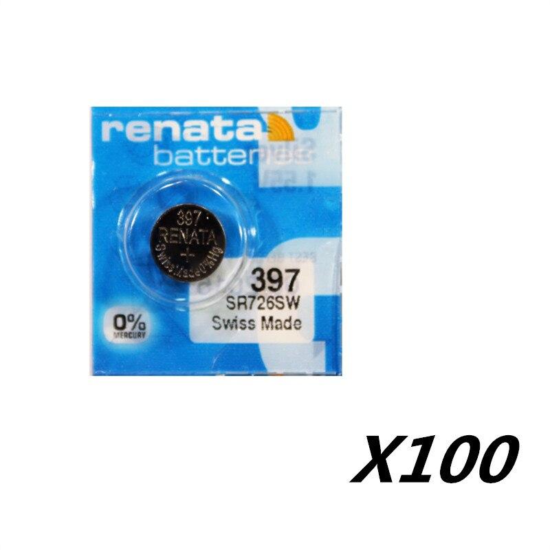 100 Xrenata Silver Oxide Смотреть Батареи <font><b>397</b></font> SR726SW 726 1.55 В 100% оригинальный бренд рената <font><b>397</b></font> рената батареи 726