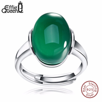 Effie Queen New Arrived Genuine 925 Silver Big Green Red Agate Adjustable Finger Rings For Women