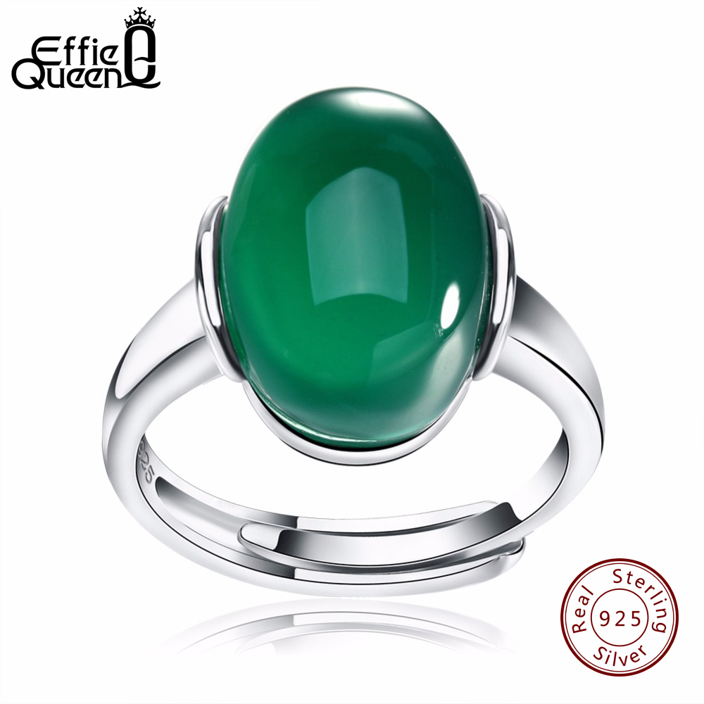 Effie Queen Genuine 925 Silver Big Green/Red Stone Adjustable Finger Rings For Women And Men Wedding Engagement Rings BR24