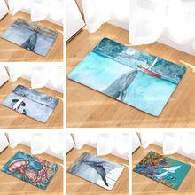 Коврик для ванной морской Кит принтованный замшевый ковер домашний