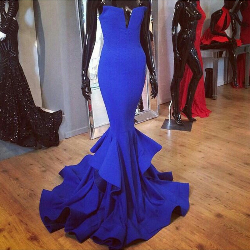New Arrival Royal Blue Mermaid Prom Dresses Long Sexy Party Evening Gowns Custom Made Black Red White Vestido de Festa-in Prom Dresses from Weddings & Events    1