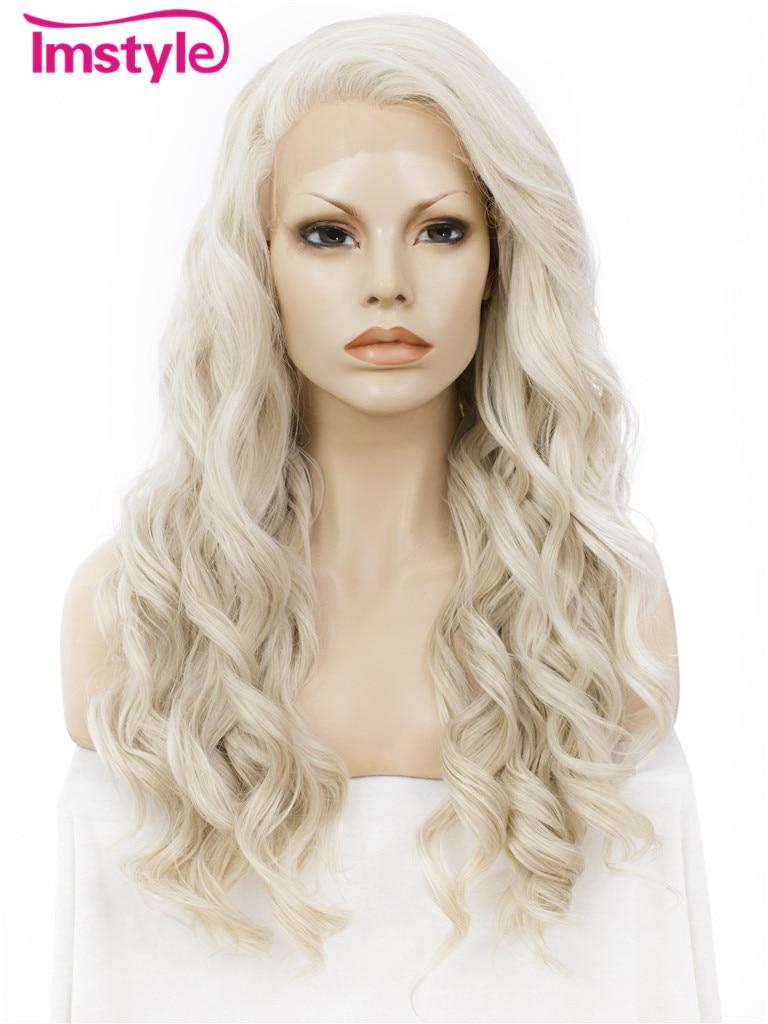Imstyle Ondulado mel ash Loira 24 peruca dianteira do laço sintético para as mulheres