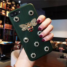 Fashion Bling Glitter Bee Retro diamond Red Leather phone case for iphone6 6s 7 8 plus X XR XS MAX luxury classic Emerald cover