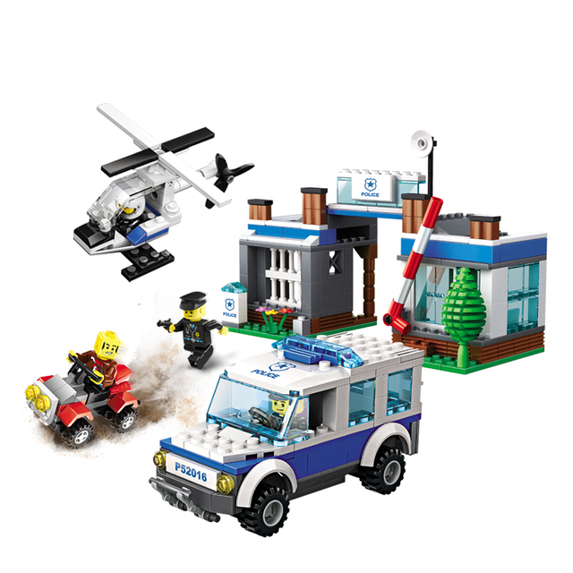 Models building toy 52016 411Pcs City Super Forest Police Helicopter ...