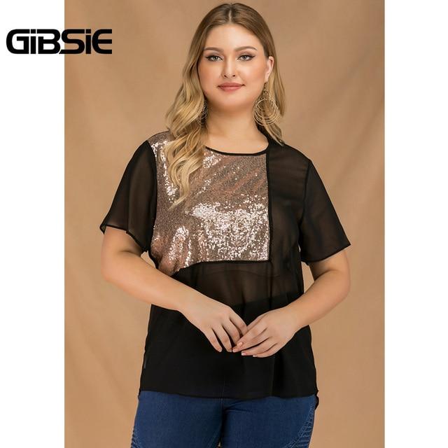 GIBSIE Plus Size Women Summer Color Block Sequin Top Chiffon See Through Black T Shirt Female O-neck Short Sleeve Casual Tshirt 5