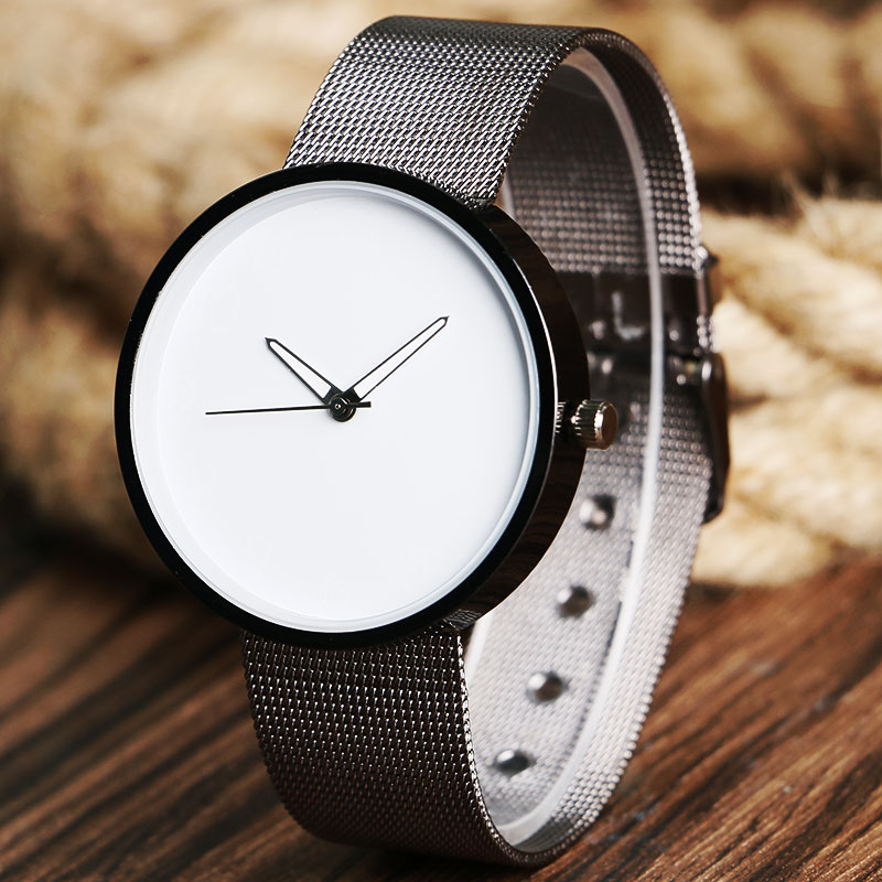 Minimalist Quartz Watches Stainless Steel Mesh Watchband Black White Dial Wristwatch for Women Men Best Gift Montre-bracelet ...
