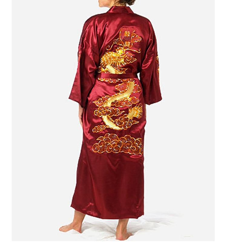 Burgundy Chinese Mens Satin Silk Robe Embroidery Kimono Bath Gown Dragon Nightwear S M L XL XXL XXXL ZR06