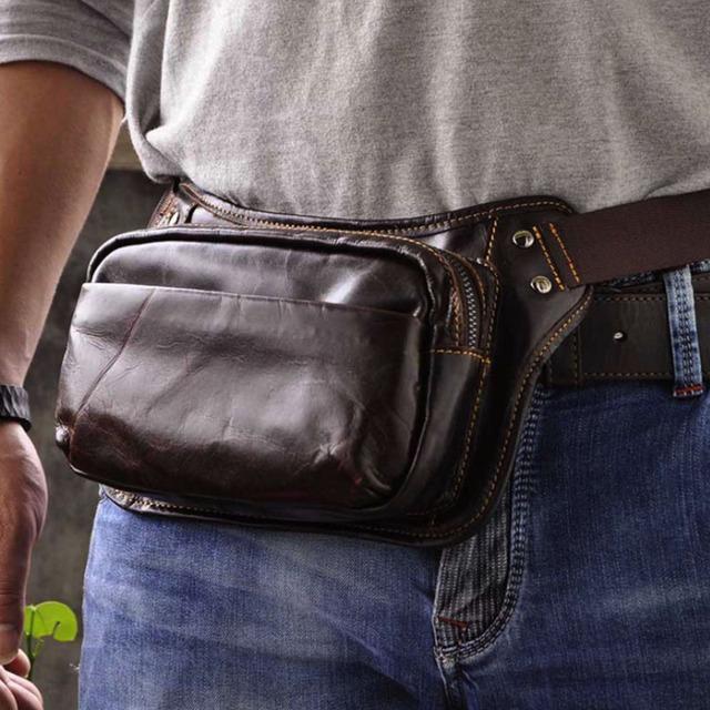 Hombres Cinturón de Cera de Aceite de Cuero Genuino de La Vendimia Hebilla Correa Del Teléfono Celular de Viaje Sling Pecho Bolsa Bolso del Paquete de Fanny Bolsa de Cintura