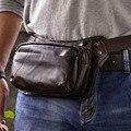 Men Oil Wax Genuine Leather Vintage Belt Buckle Travel Cell Phone Belt Sling Chest Pouch Purse Fanny Pack Waist Bag