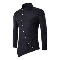 Men S Stand Collar Shirts Long Sleeve Asymmetric Hemline Solid Single Button Slim Fit Plus Size