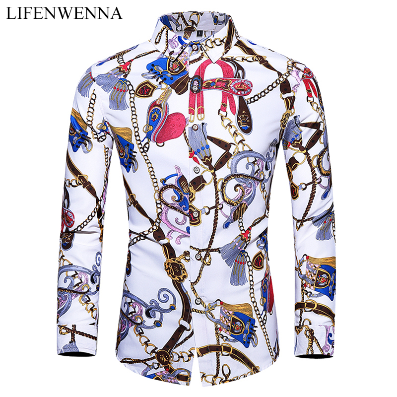 5XL 6XL 7XL Shirt Men Autumn New Fashion Personality Printing Long Sleeve Shirts Men 2019 Casual Plus Size Business Office Shirt
