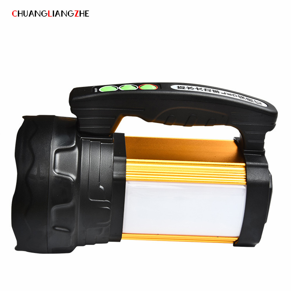 CHUANGLIANGZHE Portable Searchlight LED Flashlight Rechargeable Outdoor Waterproof Multifunctional Camping Light 18650 Battery high power led searchlight lantern built in battery handheld portable flashlight torch rechargeable waterproof hunting lamps