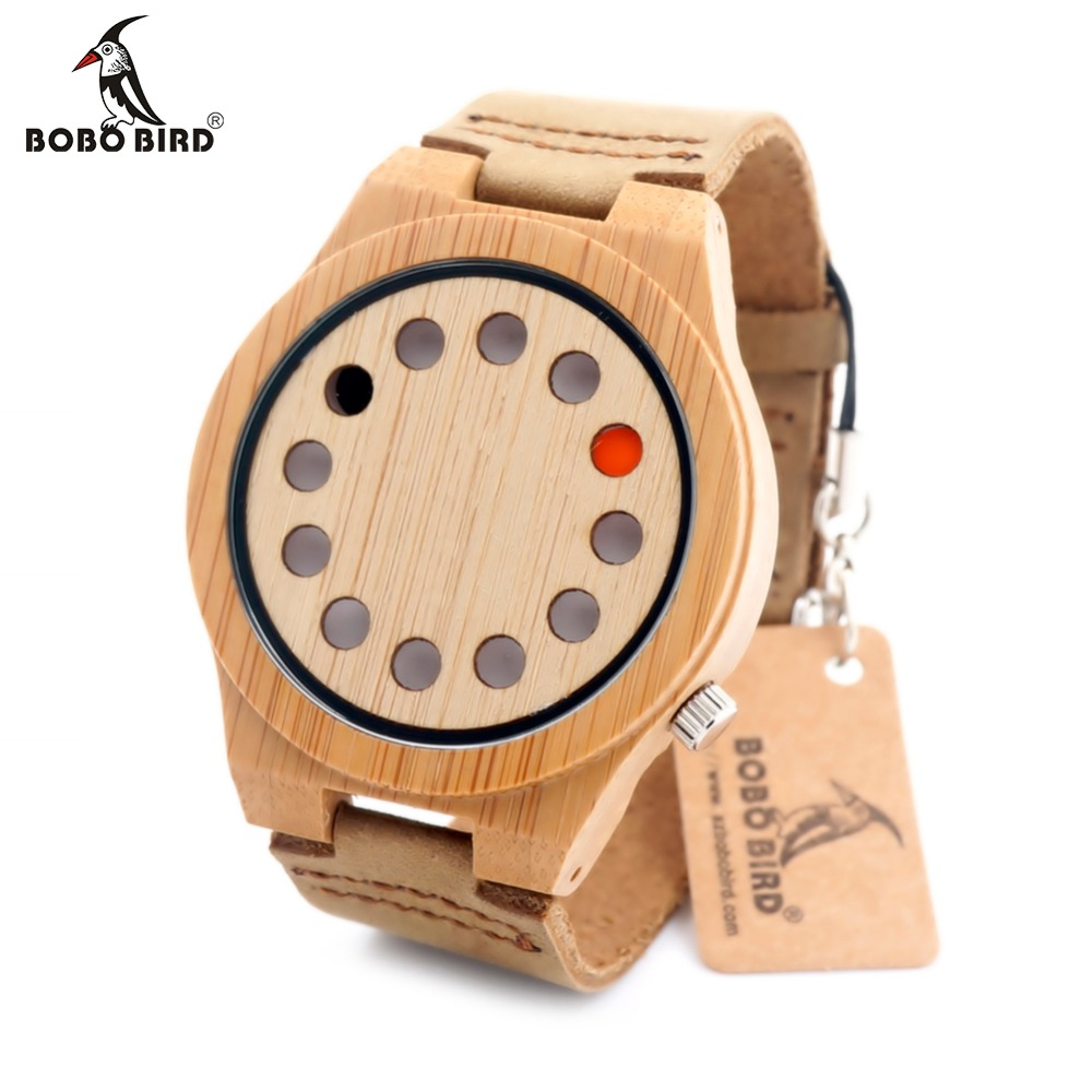New Design BOBO BIRD 12 Wholes Leather Band Luxury Men's Wooden Quartz Watch Without Second Hand Relogio Masculino In Gift Box bobo bird brand new sun glasses men square wood oversized zebra wood sunglasses women with wooden box oculos 2017