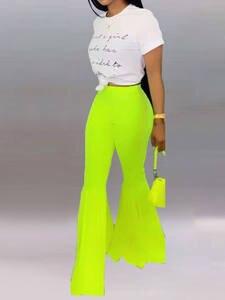 BleamFly High Waist Trousers Ladies Wide Leg Female