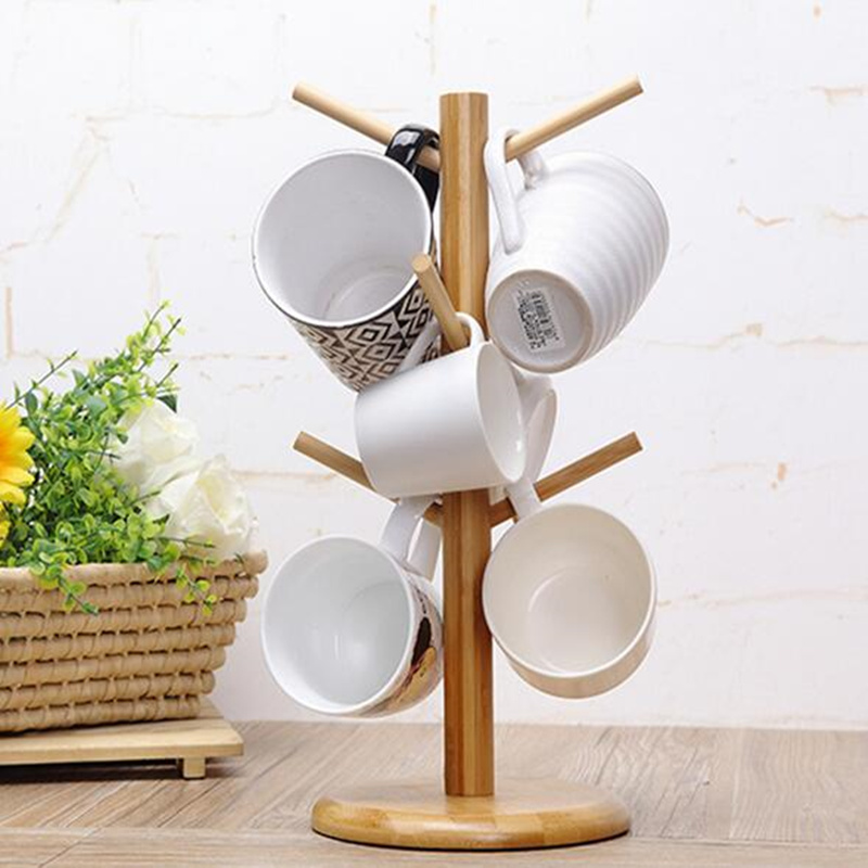 DIY wooden tree shape mug Organizer drainer shelf with 6 hooks organization incorporated cup shelf for home decoration