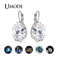 UMODE 2019 New Oval Colorful Zircon Drop Earrings for Women Crystal White Gold Geometric Jewelry Boucle Doreille Femme AUE0580