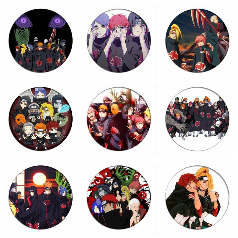 Anime Naruto Cosplay Badges Akatsuki Members Uchiha Itachi  Brooch Pins Icon Collection Breastpin For Backpacks Clothes Decor