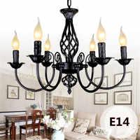 Lustre industriel rétro 3/4/5/6 têtes, lampes européennes en fer forgé pour le salon Bar Restaurant E14 Lustre Luminaria