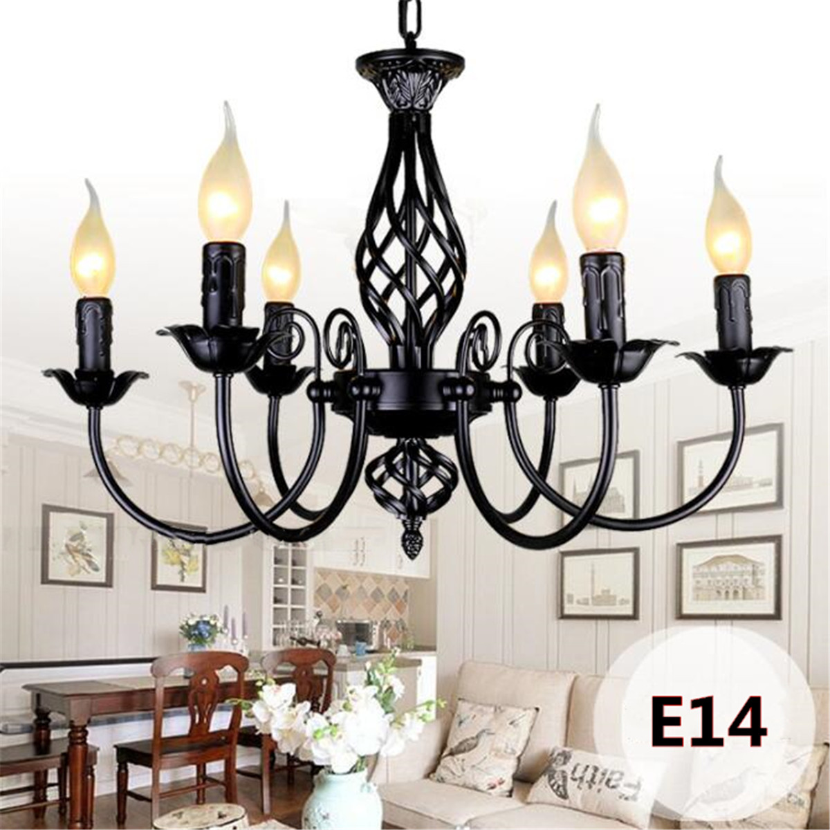 Retro Industrial Chandelier Light 3/4/5/6 Heads European Wrought Iron Lamps For Living Room Bar Restaurant E14 Lustre Luminaria