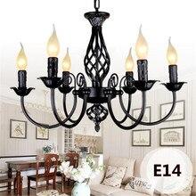 Lámpara de araña Industrial Retro 3/4/5/6 cabezas lámparas europeas de hierro forjado para sala de estar Bar restaurante E14 Lustre Luminaria