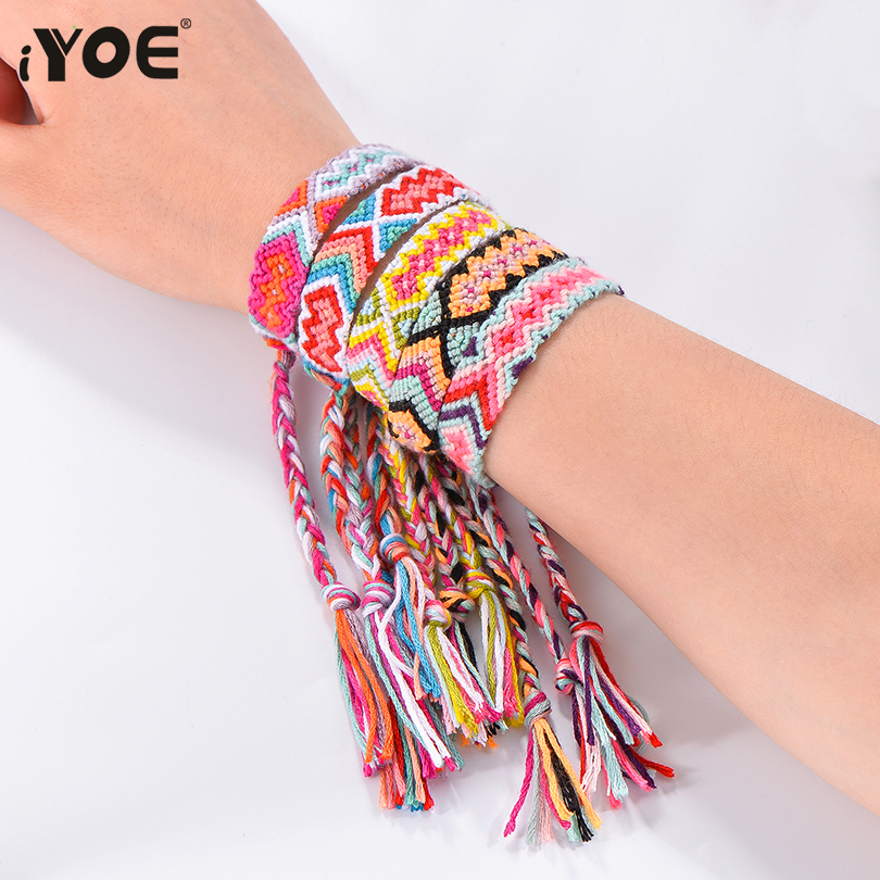 IYOE Bracelet Braided Gift Cotton-Rope Ethnic Boho Handmade Colorful Nepalese Women