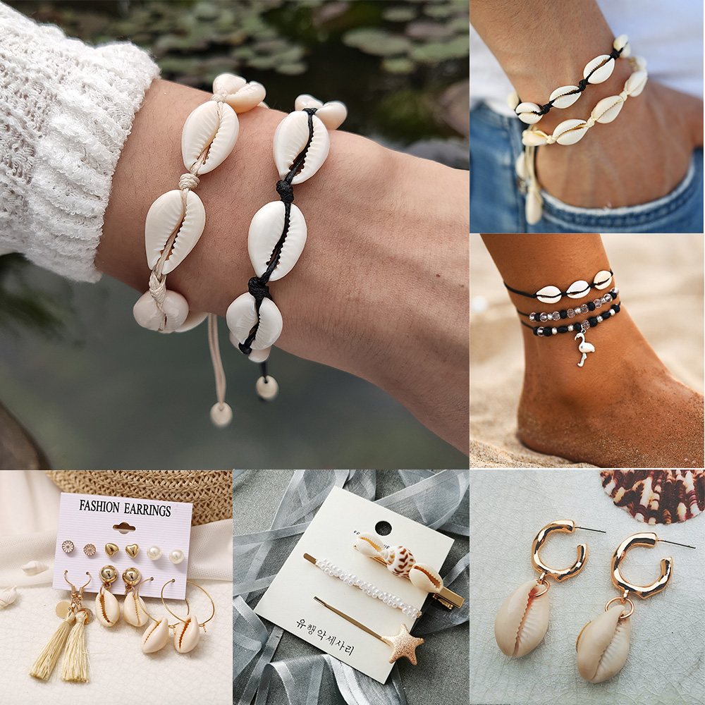 Bracelet Beach-Jewelry Ins-Shell Adjustable White Femme Women for Rope Leg IF title=