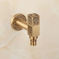Antique Brass Artistic Laundry Bathroom Washing Machine Faucet Wall Mount Sink Basin Water Faucet Tap Spigot Bibcocks 3811106
