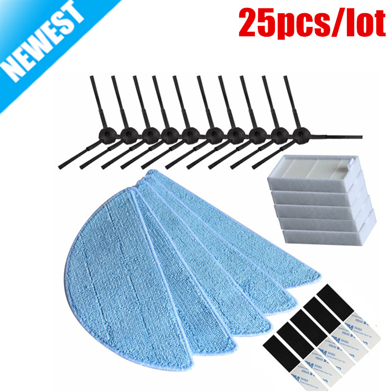 10*side Brush+5*hepa Filter+5*Mop Cloth+5*magic paste for ilife v5s ilife v5 pro ilife x5 V3+ V5 V3 v5pro vacuum cleaner parts cheapest 1pcs cleaning mopping cloth 3 pair hepa filter 3 pair cleaner side brush for dt85 dt83 dm81 vacuum cleaner for house