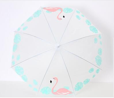 New Cute Transparent Kids Umbrella for summer Children Girls As Novelty Gifts semi-Automatic white umbrella