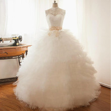 Ball Gown Backless High Neck Wedding Dresses Bow Belt Lace Ruffles Tulle Tiered Skirt Floor Length Bridal Gowns Custom Size